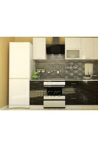 Кухонный гарнитур Валерия-М-02 Белый глянец страйп- Чёрный глянец страйп, , 24,100 руб., Валерия-М-02,  BRAVO, Модульные кухни