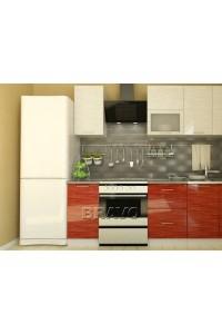 Валерия-М-02 Белый глянец страйп- Красный глянец страйп, , 24,100 руб., Валерия-М-02,  BRAVO, Модульные кухни